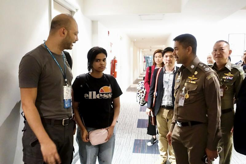 The case of Saudi teen Rahaf Mohammed al-Qunun (C) drew global attention to Thailand, which does not recognise asylum seekers (AFP Photo/Handout)