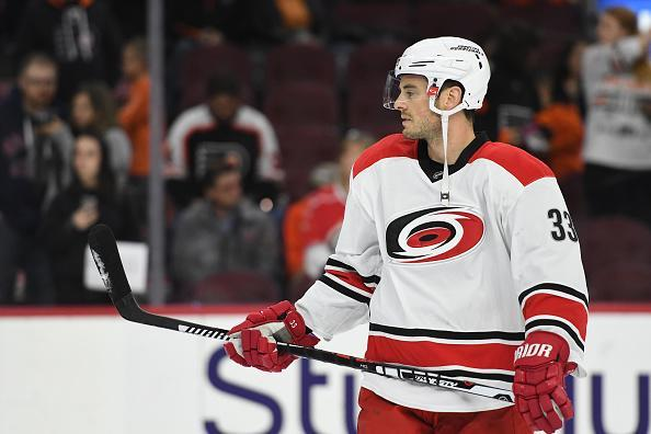 PHILADELPHIA, PA - MARCH 19: Carolina Hurricanes Center Derek Ryan (33) looks on during a National Hockey League game between the Carolina Hurricanes and the Philadelphia Flyers on March 19, 2017 at Wells Fargo Center in Philadelphia, PA . The Flyers won in OT 4-3.(Photo by Andy Lewis/Icon Sportswire via Getty Images)