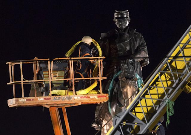 <p>A statue of Confederate general P.G.T. Beauregard is prepared for removal, Tuesday, May 16, 2017, from the entrance to City Park in New Orleans. The city council voted to remove the monument and three other Confederate and white supremacist monuments in Dec. 2015. (Photo: Scott Threlkeld/AP) </p>