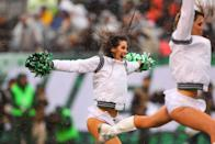 <p>New York Jets FlightCrew Cheerleaders perform during the National Football League game between the New York Jets and the Atlanta Falcons on October 29, 2017, at Met Life Stadium in East Rutherford, NJ. (Photo by Rich Graessle/Icon Sportswire via Getty Images) </p>