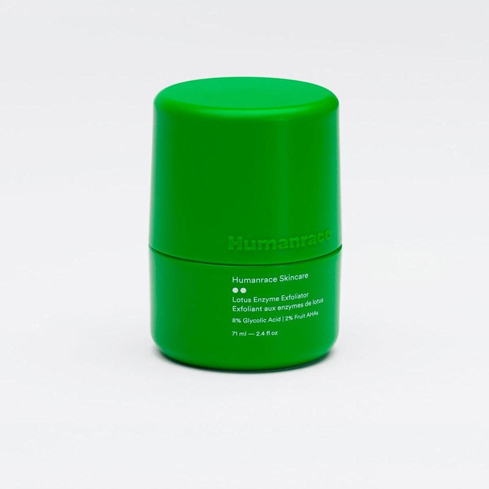 "Each product in Pharell's new skin care line is not only made of 50% post-consumer plastic (meaning it's already been used), but is refillable. This exfoliating gel is Pharell's favorite of the line, and has both physical—rice powder—and chemical—glycolic acid and fruit enzymes—exfoliants to gently but powerfully buff away dead skin cells. $46, Humanrace. <a href=""https://www.humanrace.com/product/lotus-enzyme-exfoliator"" rel=""nofollow noopener"" target=""_blank"" data-ylk=""slk:Get it now!"" class=""link rapid-noclick-resp"">Get it now!</a>"