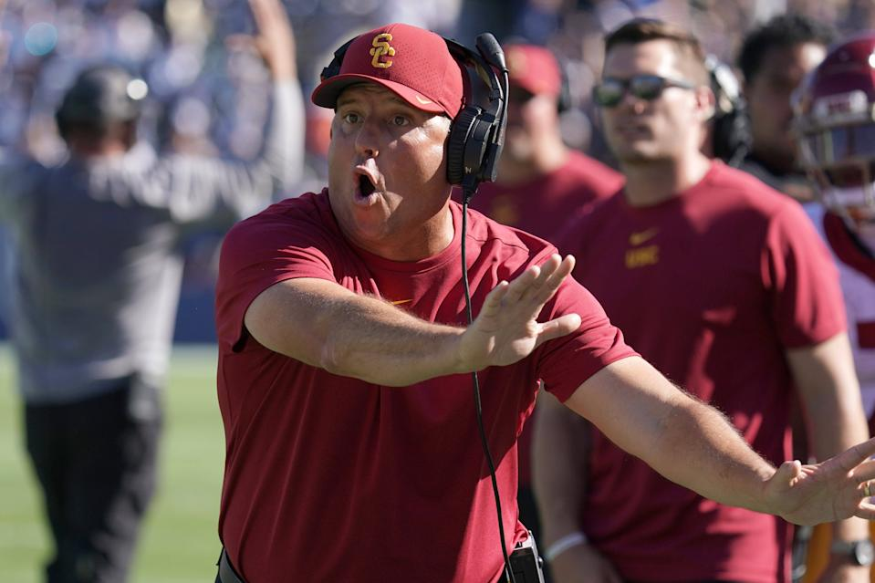 USC Trojans head coach Clay Helton reacts in the second half against the Brigham Young Cougars on Saturday. (USAT)