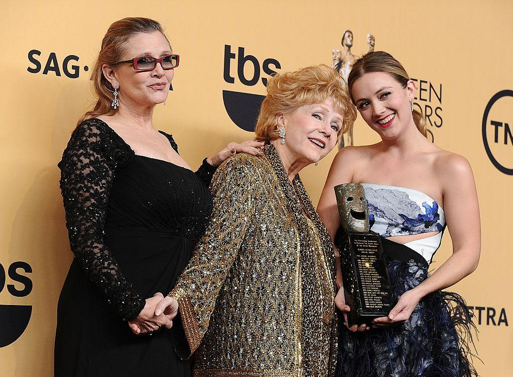 Billie Lourd, right, opened up about her grief over mom Carrie Fisher and grandmother Debbie Reynolds, who died one day apart in 2016. (Jason LaVeris/FilmMagic)