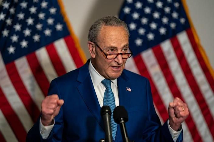 WASHINGTON, DC - APRIL 20: Senate Majority Leader Chuck Schumer (D-NY) takes questions from members of the media during a news conference following a Senate Democratic policy luncheon on Capitol Hill on Tuesday, April 20, 2021 in Washington, DC. (Kent Nishimura / Los Angeles Times)