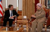 Then US deputy secretary of state Antony Blinken meets with the president of Iraq's autonomous Kurdish region, Massud Barzani, in 2016 in Arbil