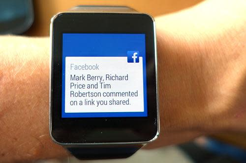 Watch showing a Facebook alert