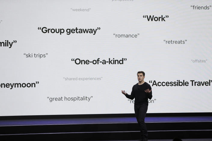 Airbnb co-founder and CEO Brian Chesky speaks during an event Thursday, Feb. 22, 2018. (AP Photo/Eric Risberg)