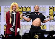 <p>Ezra Miller and Ray Fisher at the Warner Bros. Pictures Presentation at Comic-Con on July 22, 2017 in San Diego. (Photo by Kevin Winter/Getty Images) </p>