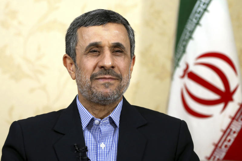 "Former Iranian President Mahmoud Ahmadinejad gives an interview to The Associated Press at his office, in Tehran, Iran, Saturday, April 15, 2017. Former Iranian President Mahmoud Ahmadinejad says he does not view recent U.S. missile strikes on ally Syria as a message for Iran, which he called a ""powerful country"" that the U.S. cannot harm. (AP Photo/Ebrahim Noroozi)"