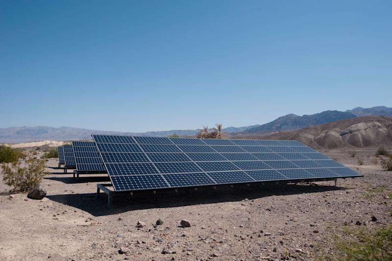 Surrounded by desert, the Photovoltaic Panels behind the National Park Service Furnace Creek Visitor Centre in Death Valley contribute to making it a more efficient building in the hottest, driest and lowest place in the USA. (Photo: Tracy Packer via Getty Images)