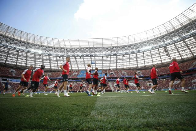 Soccer Football - World Cup - Denmark Training - Luzhniki Stadium, Moscow, Russia - June 25, 2018 Denmark's players during training REUTERS/Carl Recine