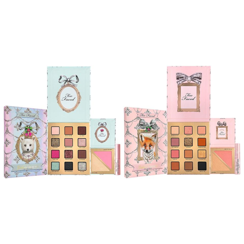 "<p><strong>Too Faced</strong></p><p>sephora.com</p><p><strong>$36.00</strong></p><p><a href=""https://go.redirectingat.com?id=74968X1596630&url=https%3A%2F%2Fwww.sephora.com%2Fproduct%2Ftoo-faced-enchanted-beauty-unbearably-glam-makeup-set-P461210&sref=https%3A%2F%2Fwww.redbookmag.com%2Fbeauty%2Fg34587516%2Fsephora-beauty-gifts%2F"" rel=""nofollow noopener"" target=""_blank"" data-ylk=""slk:Shop Now"" class=""link rapid-noclick-resp"">Shop Now</a></p><p>This cute Too Faced set works for any age group, and whoever gets it will definitely get a lot of use out of it. It includes an exclusive eye shadow palette with 12 different shades, a highlighter and blush duo palette, and a travel size mascara. A fun touch is that it also literally smells like Christmas cookies.</p>"