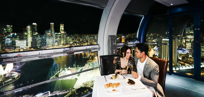 Dining aboard Singapore Flyer
