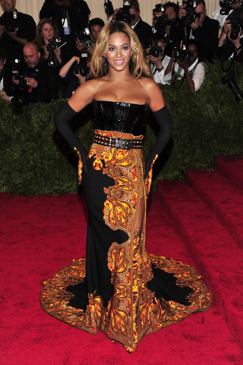 """Beyonce attends The Metropolitan Museum of Art's Costume Institute benefit celebrating """"PUNK: Chaos to Couture"""" on Monday, May 6, 2013, in New York. (Photo by Charles Sykes/Invision/AP)"""
