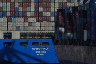 A container ship is docked at the Port of Long Beach in Long Beach in Calif., Friday, Oct. 1, 2021. With three months until Christmas, toy companies are racing to get their toys onto store shelves as they face a severe supply network crunch. Toy makers are feverishly trying to find containers to ship their goods while searching for new alternative routes and ports. (AP Photo/Jae C. Hong)