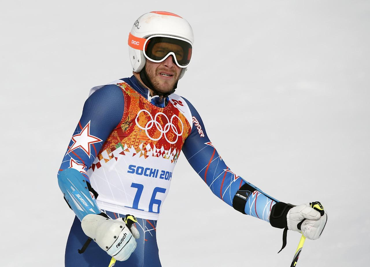 United States' Bode Miller arrives in the finish area after the first run of the men's giant slalom at the Sochi 2014 Winter Olympics, Wednesday, Feb. 19, 2014, in Krasnaya Polyana, Russia. (AP Photo/Christophe Ena)