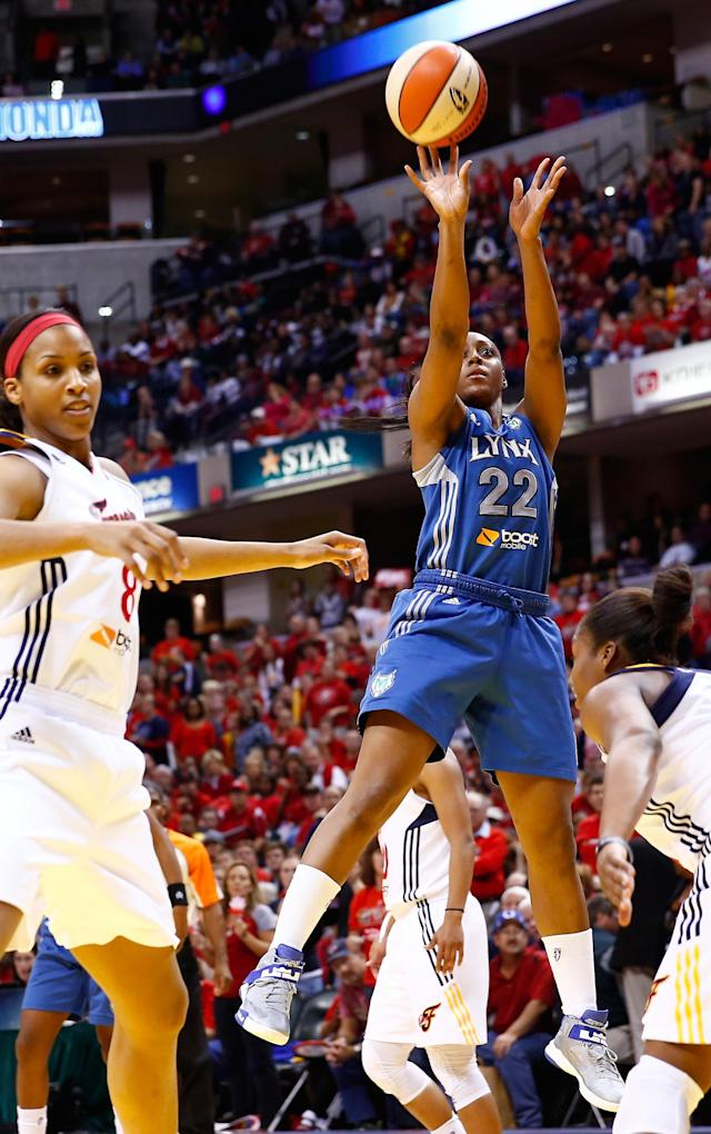 INDIANAPOLIS, IN - OCTOBER 19: Monica Wright #22 of the Minnesota Lynx shoots a jumper against the Indiana Fever during Game Three of the 2012 WNBA Finals on October 19, 2012 at Bankers Life Fieldhouse in Indianapolis, Indiana. NOTE TO USER: User expressly acknowledges and agrees that, by downloading and or using this Photograph, user is consenting to the terms and conditions of the Getty Images License Agreement. (Photo by Michael Hickey/Getty Images)