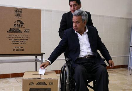 Government candidate Lenin Moreno casts his vote during the presidential election in Quito, Ecuador April 2, 2017. REUTERS/Mariana Bazo