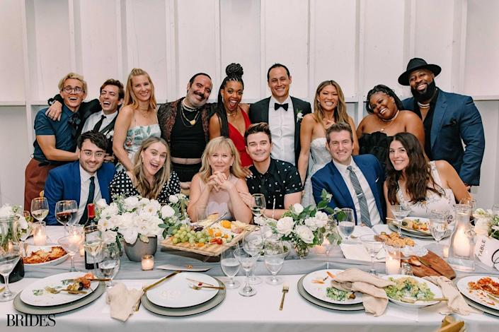 """<p>Costar Kevin McHale was the lone member of the bridal party, serving as man of honor.</p> <p>""""We felt like we wanted the feeling of the wedding to be inclusive of everyone and to choose a particular group that felt exclusive in ways,"""" Ushkowitz said. """"We also didn't feel like we needed it — we were still both able to gather the troops for our bachelor and bachelorette and do all the things with our friends leading up to the wedding."""" </p>"""