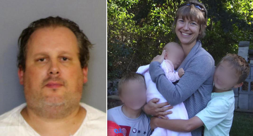 A mugshot showing Anthony Todt alongside a Facebook photo of Megan Todt and their three children.