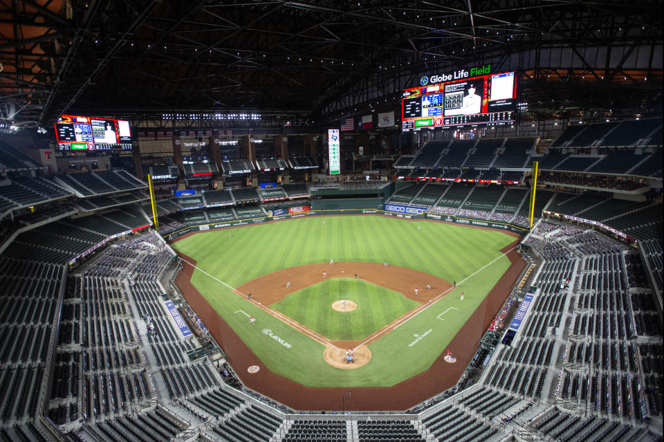 Globe Life Field is viewed during the fifth inning of a baseball game between the Texas Rangers and the Los Angeles Dodgers, Saturday, Aug. 29, 2020, in Arlington, Texas. (AP Photo/Jeffrey McWhorter)