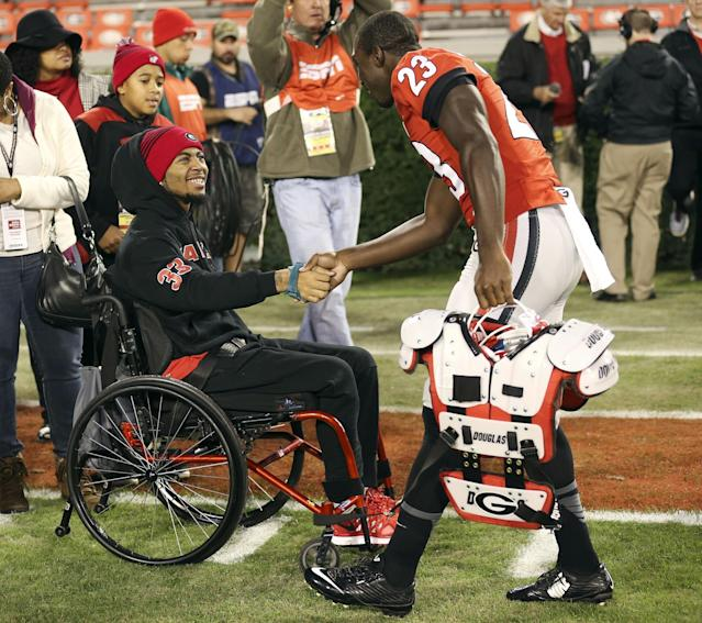 Southern University's Devon Gales suffered a spinal injury during a game at Georgia. (AP Photo/John Bazemore)