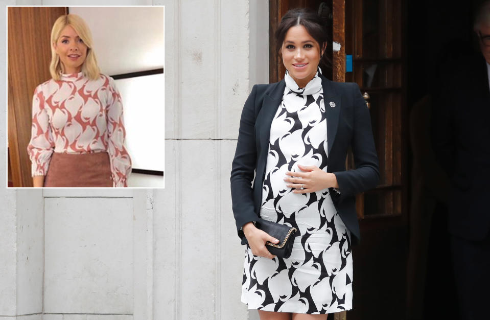 The Meghan Markle approved print is from high street brand Reiss [Photo: Getty/Instagram]