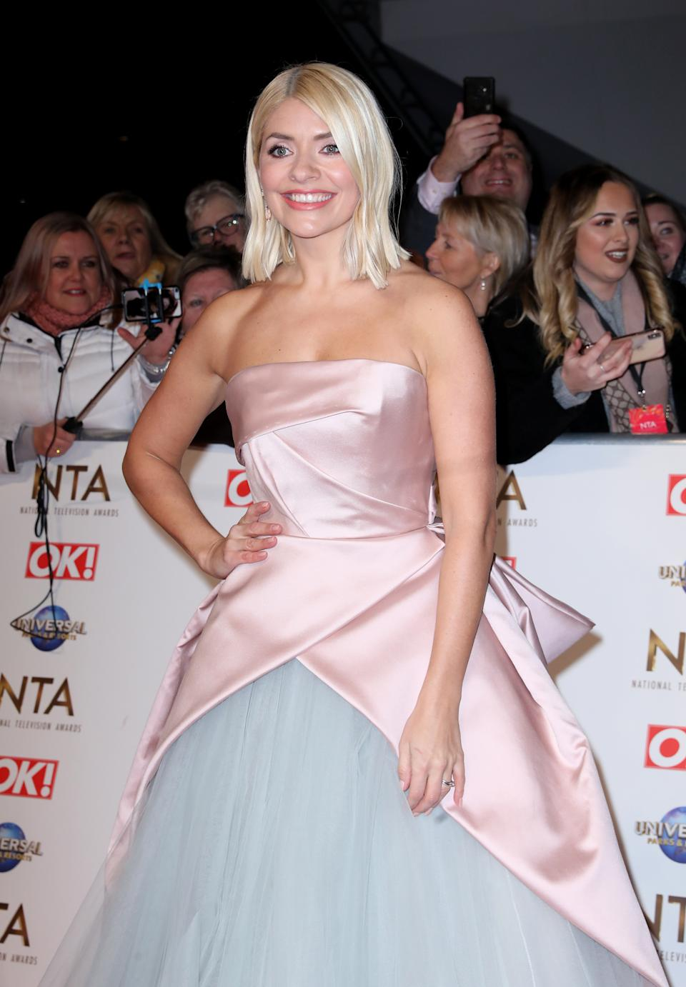 Holly Willoughby attending the National Television Awards 2020 held at the O2 Arena, London.
