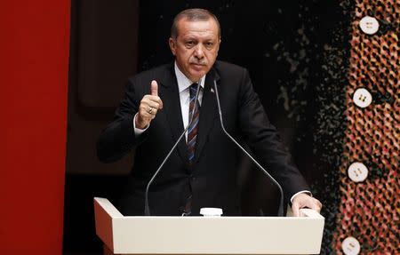 Turkey's Prime Minister Tayyip Erdogan addresses members of his ruling AK Party (AKP) during a meeting at the party headquarters in Ankara