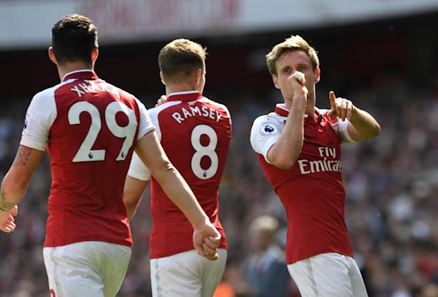 """Soccer Football - Premier League - Arsenal v West Ham United - Emirates Stadium, London, Britain - April 22, 2018 Arsenal's Nacho Monreal celebrates scoring their first goal Action Images via Reuters/Tony O'Brien EDITORIAL USE ONLY. No use with unauthorized audio, video, data, fixture lists, club/league logos or """"live"""" services. Online in-match use limited to 75 images, no video emulation. No use in betting, games or single club/league/player publications. Please contact your account representative for further details."""