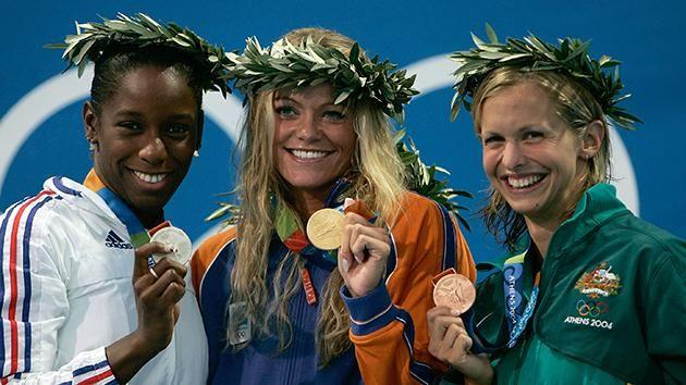 Inge de Bruijn celebrates at the 2004 Olympics. Pic: Getty