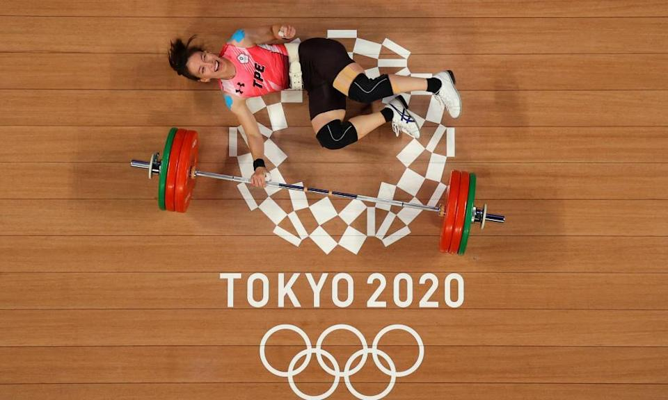 Gold medallist Kuo Hsing-Chun competing in the weightlifting on day four of the Olympics