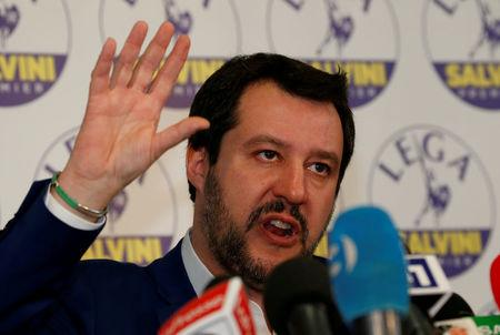FILE PHOTO: Northern League party leader Matteo Salvini talks during a news conference, the day after Italy's parliamentary elections, in Milan