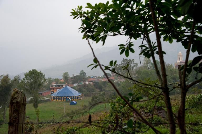 Tent of the Army's Colombia Circus is seen in Tibirita, Cundinamarca department, on March 8, 2014