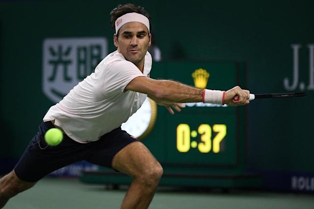 Federer added his voice to the debate around the new-format Davis Cup when quizzed after beating Roberto Bautista Agut to reach the Shanghai quarter-finals (AFP Photo/WANG ZHAO)