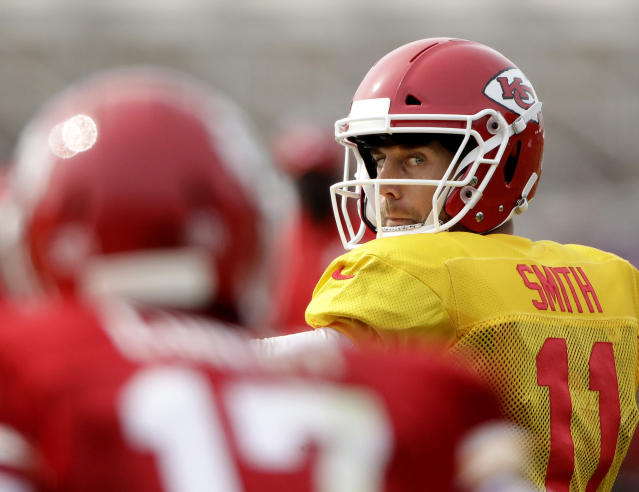 Alex Smith has rookie Patrick Mahomes, a first-round pick, behind him this preseason. (AP)