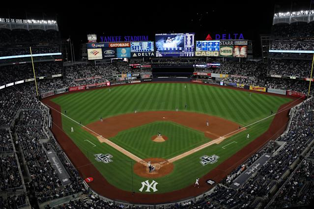Rain in the forecast has postponed ALCS Game 4 at Yankee Stadium. (Photo by Mary DeCicco/MLB Photos via Getty Images)