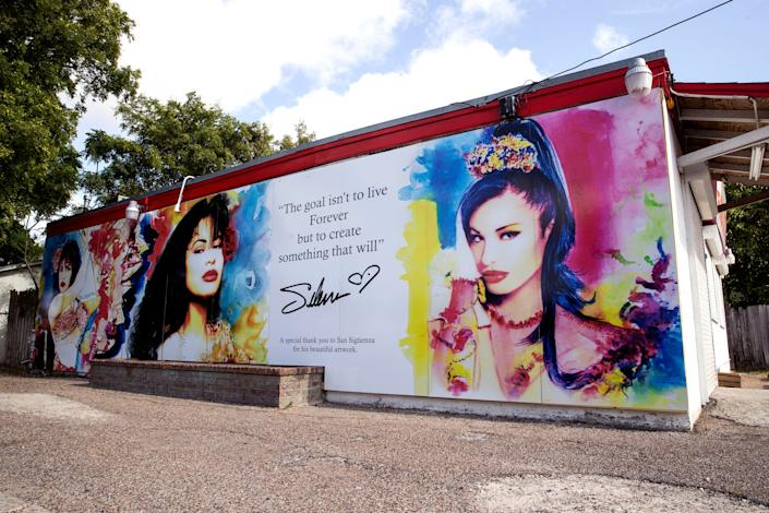 This new Selena mural by San Siguenza was installed on the exterior of the Food Store on Elvira Drive in the Molina neighborhood of Corpus Christi, Texas, on Tuesday.