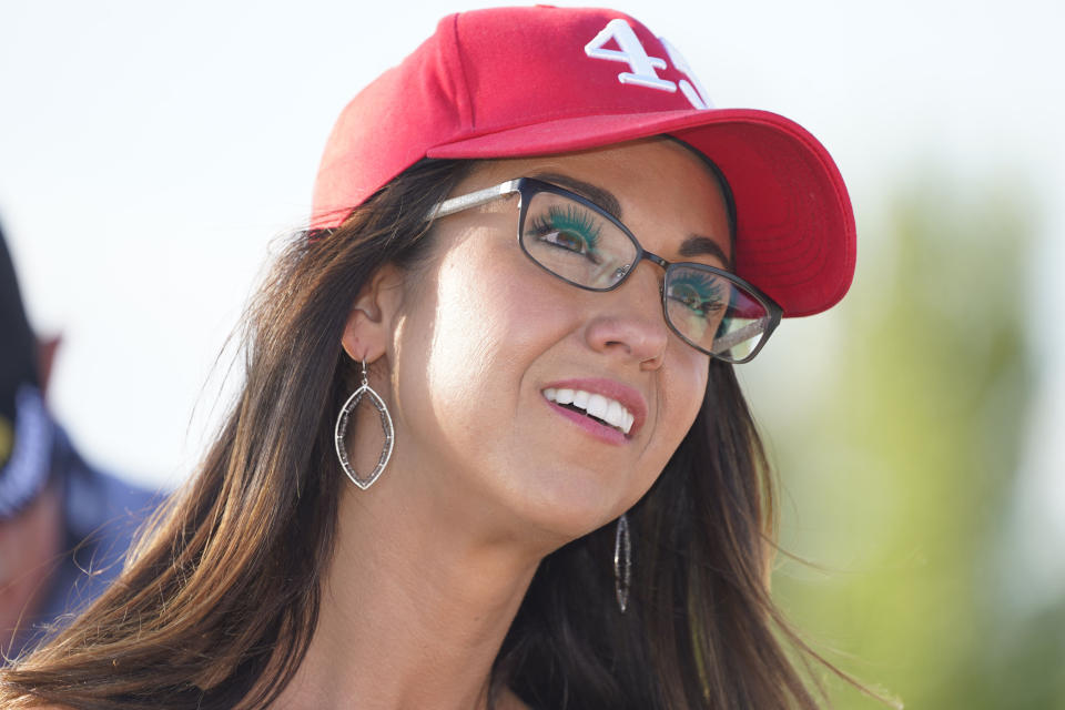 FILE—Lauren Boebert, the Republican candidate for the U.S. House of Representatives seat in Colorado's vast 3rd Congressional District, during a freedom cruise staged by her supporters Friday, Sept. 4, 2020, in Pueblo West, Colo. (AP Photo/David Zalubowski, File)