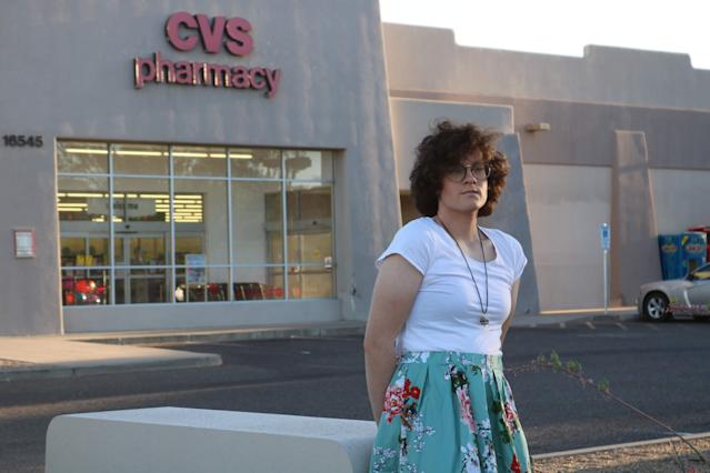 Hilde Hall outside the CVS pharmacy in Fountain Hills, Ariz. (Photo: ACLU of Arizona)