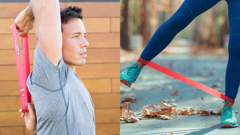 Resistance bands let you add resistance without schlepping around the weight.
