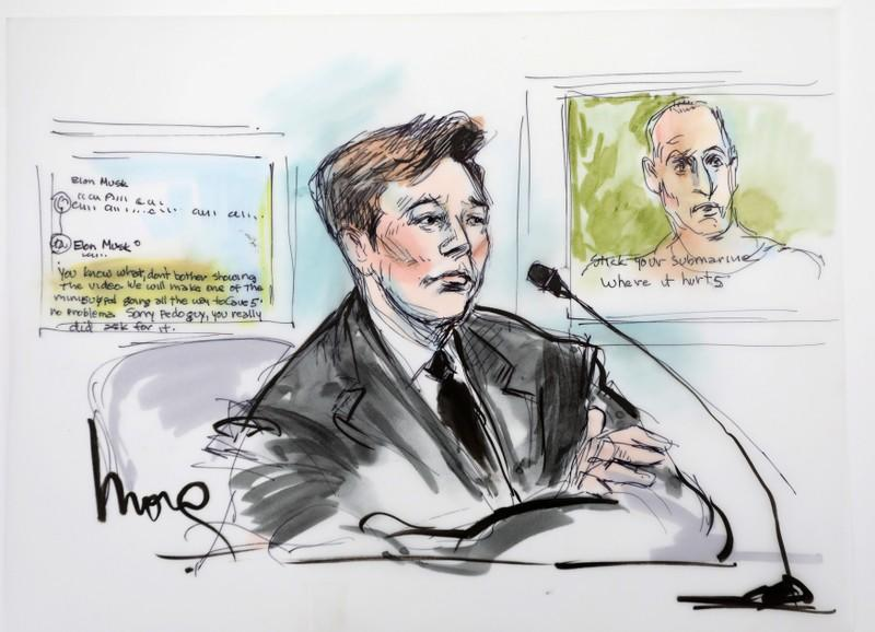 Elon Musk is shown in a courtroom drawing in court during the trial in a defamation case filed by British cave diver Vernon Unsworth, in Los  Angeles, California