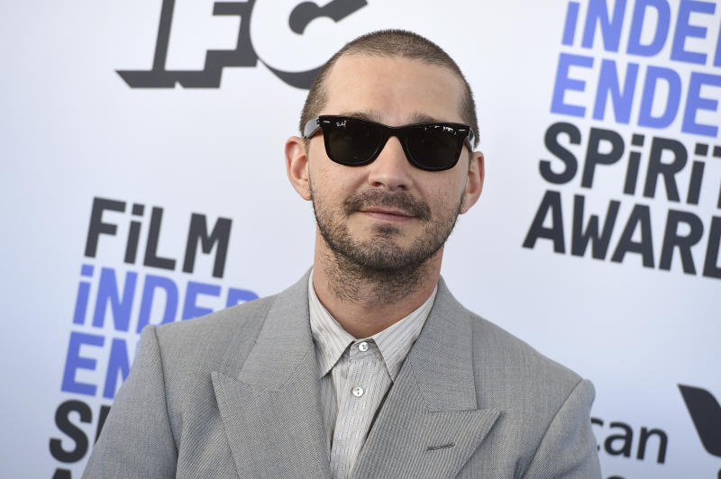 Shia LaBeouf arrives at the 35th Film Independent Spirit Awards on Saturday, Feb. 8, 2020, in Santa Monica, Calif. (Photo by Jordan Strauss/Invision/AP)