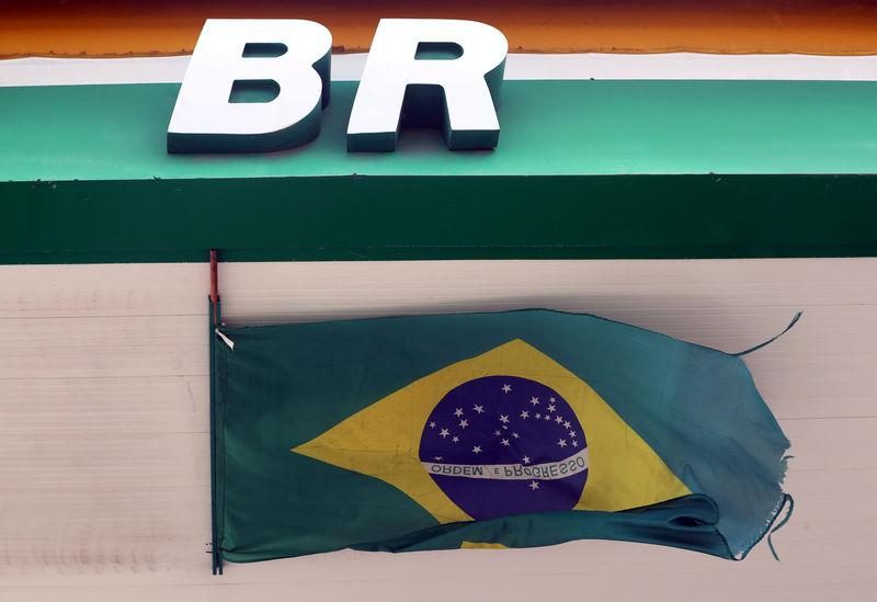 The logo of Brazil's state-run oil company Petrobras is pictured at a gas station in Natal