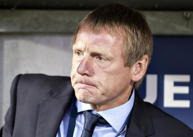 (FILES) In a file picture taken on June 19, 2011 England coach Stuart Pearce grimaces during the UEFA Under-21 European Championship group B football match England vs Czech Republic at the Viborg Stadium. Football Association chairman David Bernstein confirmed that England Under-21 manager Stuart Pearce would take charge of England's squad for the friendly against the Netherlands on February 29, 2012 following the resignation of Fabio Capello from the England top job. (Photo by Scanpix/ Henning Bagger ***denmark Out*** /AFP/Getty Images)