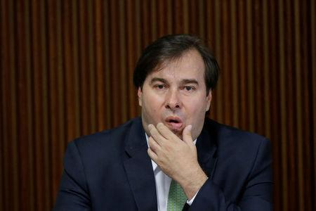 President of the Chamber of Deputies Rodrigo Maia gestures during a meeting of the Pension Reform Commission with Brazil's president Michel Temer at the Planalto Palace in Brasilia, Brazil, April 11, 2017. REUTERS/Ueslei Marcelino