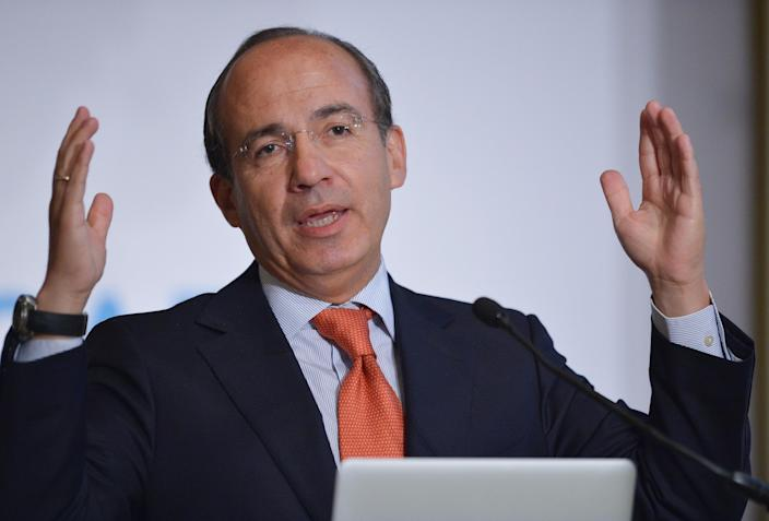 Former Mexican president Felipe Calderon delivers the keynote address during the 18th annual CAF, Development Bank of Latin America conference, in Washington, DC, on September 3, 2014 (AFP Photo/Mandel Ngan)