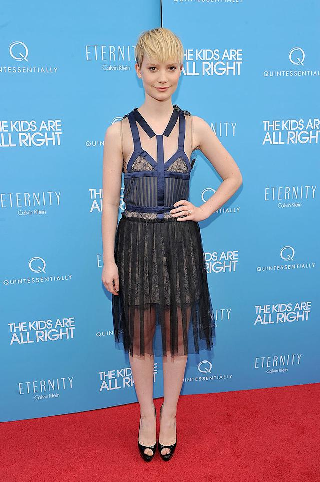 "Australian actress Mia Wasikowska donned a busy black-and-blue frock from the Rodarte Spring 2008 collection to the New York premiere of the ""Kids Are All Right."" While she was attempting to be edgy, unfortunately the look fell flat. Theo Wargo/<a href=""http://www.wireimage.com"" target=""new"">WireImage.com</a> - June 30, 2010"