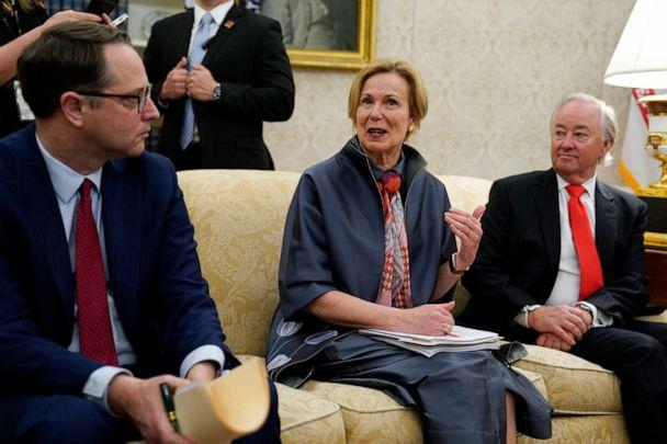 PHOTO: White House coronavirus response coordinator Dr. Deborah Birx speaks at a meeting with President Donald Trump and Texas Gov. Greg Abbott about the coronavirus response in the Oval Office of the White House, May 7, 2020, in Washington. (Evan Vucci/AP)