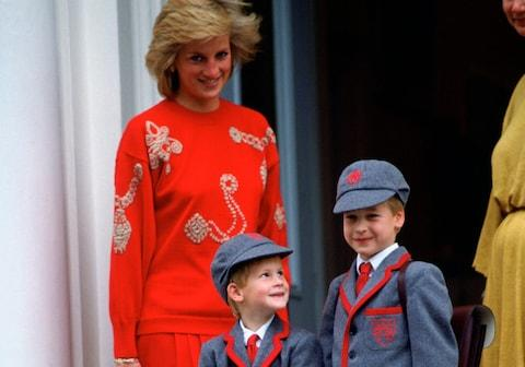 "'As a child, Harry reportedly complained to his mother ""it's not fair"" that William was ""made a fuss over"" when visiting their great-grandmother' - Credit: Tim Graham/Getty Images Fee"